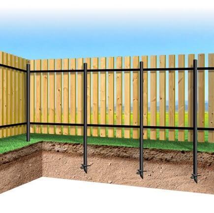 Забор из деревянного штакетника на сваях