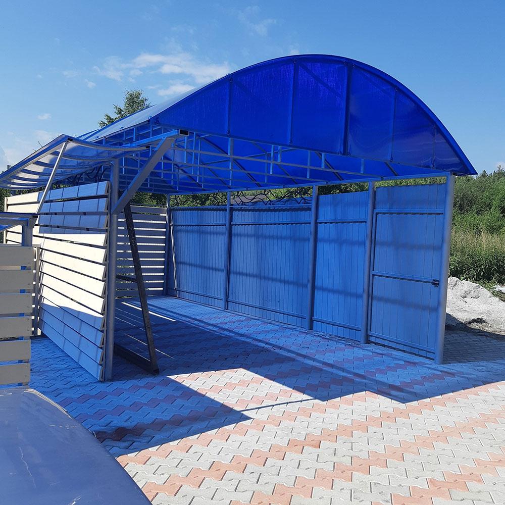 Навес из поликарбоната синий