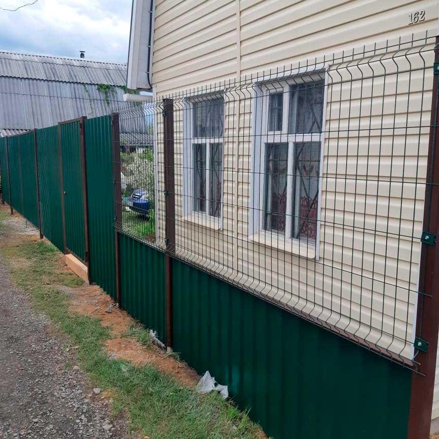 Комбинированный забор профлист/3д сетка