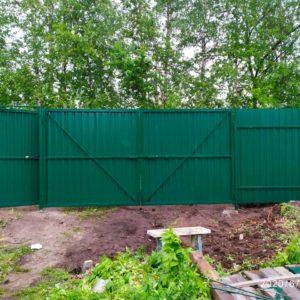 Ворота из профлиста зеленые